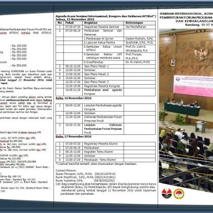 SEMINAR INTERNASIONAL, KONGRES AP3KnI 15-17 November 2016